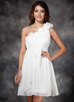 Empire-Linie One-Shoulder-Träger Kurz/Mini Chiffon Festliche Kleid mit Rüschen Blumen (020003254)