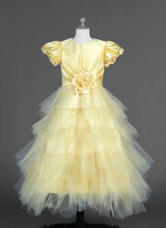 Vestidos princesa/ Formato A Longuete Vestidos de Menina das Flores - Tule/Charmeuse Manga curta Decote redondo com Pregueado/fecho de correr (010007294)