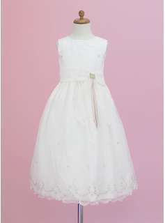 A-Line/Princess Ankle-length Flower Girl Dress - Organza Sleeveless Scoop Neck With Flower(s)/Bow(s) (010005343)