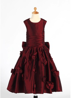 A-Line/Princess Tea-length Flower Girl Dress - Taffeta Sleeveless Scoop Neck With Ruffles/Flower(s)/Sequins/Bow(s) (010014652)