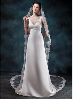One-tier Cathedral Bridal Veils With Lace Applique Edge (006020562)