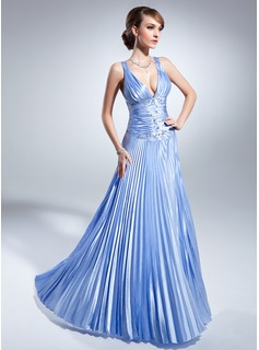 A-Line/Princess V-neck Floor-Length Charmeuse Mother of the Bride Dress With Beading Pleated (008015059)