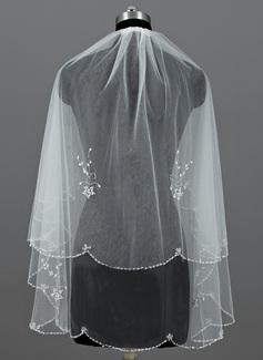 2 couches Voile de mariée longueur bout des doigts avec Bord perlé (006052965)