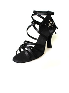 Women's Satin Heels Sandals Latin With Ankle Strap Dance Shoes (053009732)