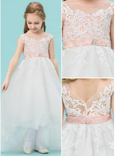A-Line/Princess Asymmetrical Flower Girl Dress - Satin/Tulle/Lace Sleeveless Scoop Neck With Beading (010143244)
