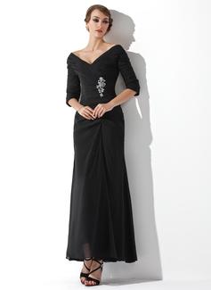 Vestidos princesa/ Formato A Sem o ombro Longuete De chiffon Vestido para a mãe da noiva com Pregueado Bordado (008006097)
