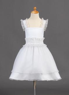 Vestidos princesa/ Formato A Coquetel Vestidos de Menina das Flores - Organza de Sem magas alças de ombro com Beading/lantejoulas (010015781)