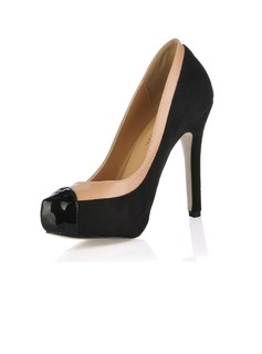 Suede Leatherette Stiletto Heel Pumps Platform Closed Toe With Split Joint shoes (085016992)