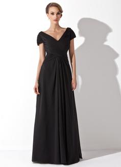 A-linjainen/Prinsessa Off--Shoulder Lattiaa hipova pituus Sifonki Morsiamen äiti-mekko jossa Rypytys (008006416)
