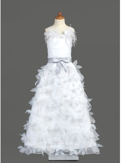 A-Line/Princess Floor-length Flower Girl Dress - Organza/Charmeuse Sleeveless Straps With Sash/Flower(s)/Bow(s) (010005781)
