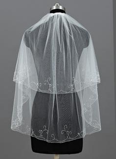 Duas camada Cotovelo véus nupciais com Borda enfeitada (006052955)