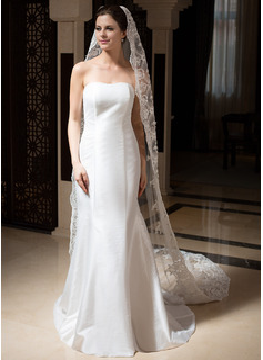 Uma camada Borda com aplicação de renda Catedral véus de noivas com Bordados/Beading/Lantejoulas (006035831)