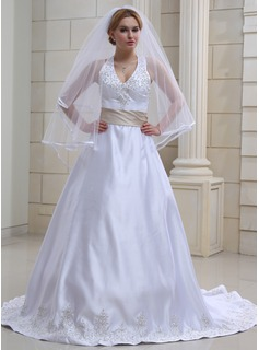 Two-tier Waltz Bridal Veils With Ribbon Edge (006022583)