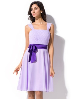 A-Line/Princess Knee-Length Chiffon Bridesmaid Dress With Ruffle Sash Bow(s) (007055192)