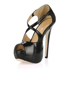 Women's Leatherette Stiletto Heel Sandals Platform Peep Toe shoes (085017469)