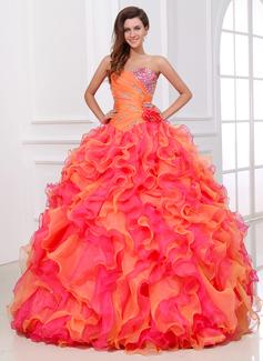 Corte de baile Escote corazón Vestido Organdí Vestido de quinceañera con Bordado Cascada de volantes (021017529)