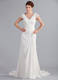 A-Linie/Princess-Linie V-Ausschnitt Hof-schleppe Chiffon Brautkleid mit Rüschen Spitze Perlen verziert (002025340)
