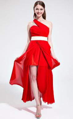 Vestidos princesa/ Formato A Um ombro Assimétrico De chiffon Vestido de Férias com Pregueado Cintos Frente aberta (020039562)