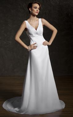 Corte A/Princesa Escote en V Cola corte Chifón Vestido de novia con Volantes Encaje Bordado (002011583)