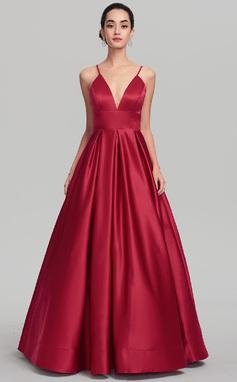 Платье для Балла V-образный Длина до пола Атлас Вечерние Платье (017137361)