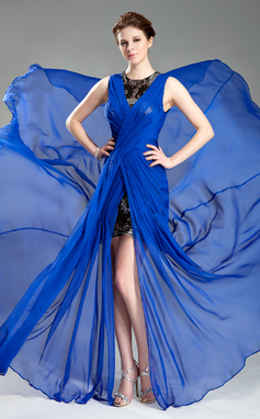 Vestidos princesa/ Formato A Decote redondo Cauda de sereia De chiffon Vestido de festa com Pregueado Frente aberta (017019766)