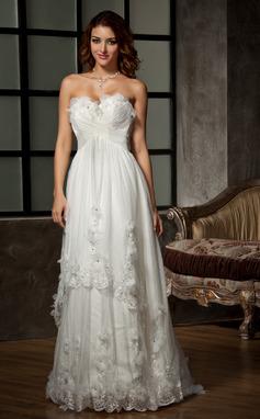 Corte A/Princesa Escote corazón Barrer/Cepillo tren Tul Vestido de novia con Volantes Encaje Bordado Flores (002011515)