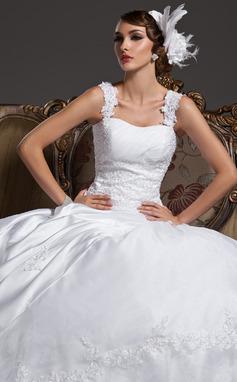 Gala-Japon Sweetheart Hof sleep Satijn Organza Bruidsjurk met Roes Kant Kraalwerk (002011422)