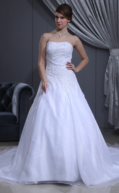 A-Line/Princess Sweetheart Cathedral Train Satin Organza Wedding Dress With Beading (002011981)