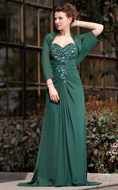 Vestidos princesa/ Formato A Coração Sweep/Brush trem De chiffon Vestido para a mãe da noiva com Pregueado Renda Bordado Lantejoulas (008018747)