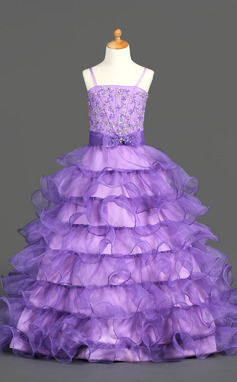 Ball Gown Floor-length Flower Girl Dress - Organza/Satin Sleeveless Straps With Ruffles/Beading/Sequins (010002153)