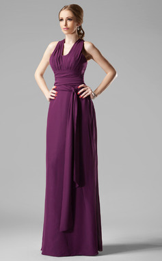 Sheath/Column V-neck Floor-Length Chiffon Bridesmaid Dress With Ruffle (007004172)