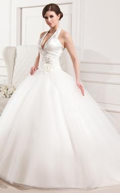 De baile Cabresto Cauda longa Tule Vestido de noiva com Bordados Pregueado fecho de correr (002012183)