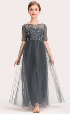A-Linie U-Ausschnitt Knöchellang Tüll Spitze Kleid für junge Brautjungfern mit Perlstickerei (009191715)