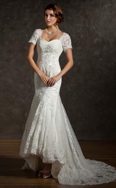 Trompete/Meerjungfrau-Linie Herzausschnitt Asymmetrisch Tüll Brautkleid mit Rüschen Spitze Perlen verziert (002011616)
