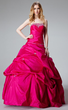 Ball-Gown Strapless Floor-Length Taffeta Quinceanera Dress With Ruffle Beading (021002893)