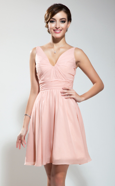 Vestidos princesa/ Formato A Decote V Curto/Mini De chiffon Vestido de boas vindas com Pregueado (022009178)