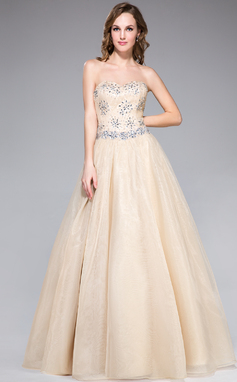 A-Line/Princess Sweetheart Floor-Length Organza Lace Prom Dress With Beading Sequins (018042744)