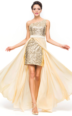 A-Line/Princess One-Shoulder Asymmetrical Chiffon Charmeuse Sequined Prom Dress (018056713)