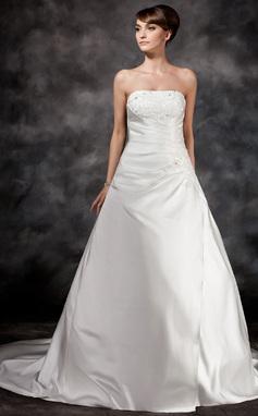 Forme Princesse Sans bretelle Traîne moyenne Satiné Robe de mariée avec Plissé Emperler (002017113)