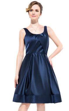 A-Line/Princess Scoop Neck Knee-Length Satin Bridesmaid Dress With Ruffle (007052349)