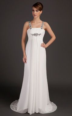 Empire Scoop Neck Watteau Train Chiffon Mother of the Bride Dress With Ruffle Beading (008015505)