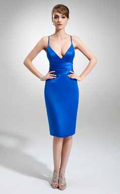 Sheath/Column V-neck Knee-Length Satin Cocktail Dress (016022558)