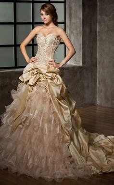 Ball-Gown Sweetheart Cathedral Train Taffeta Organza Wedding Dress With Beading Flower(s) Cascading Ruffles (002008171)