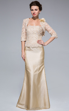 Trumpet/Mermaid Strapless Floor-Length Taffeta Lace Mother of the Bride Dress With Beading (008018959)