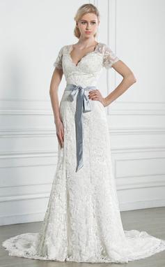 A-Line/Princess V-neck Chapel Train Lace Wedding Dress With Sash Bow(s) (002005247)