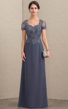 Vestidos princesa/ Formato A Amada Longos Tecido de seda Renda Vestido para a mãe da noiva com Beading lantejoulas (008152155)