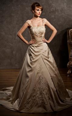 A-Linie/Princess-Linie Herzausschnitt Hof-schleppe Satin Brautkleid mit Bestickt Rüschen Perlen verziert (002011554)