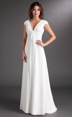 Corte A/Princesa Escote en V Barrer/Cepillo tren Chifón Vestido de novia con Volantes Bordado (002011619)