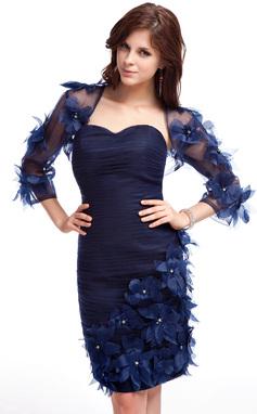Vestido tubo Escote corazón Hasta la rodilla Organdí Baile de promoción con Volantes Bordado Flores (016025376)