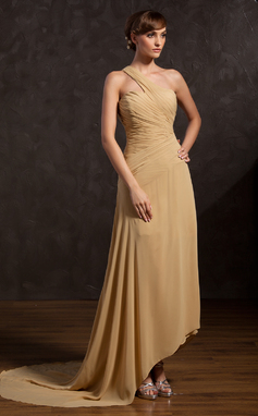 A-Line/Princess One-Shoulder Asymmetrical Chiffon Mother of the Bride Dress With Ruffle (008015115)